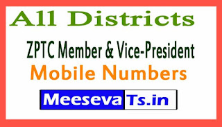 ZPTC Member & Vice-President Mobile Numbers List All Districts in Telangana State