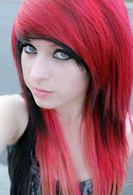 red and black emo bangs hairstyle