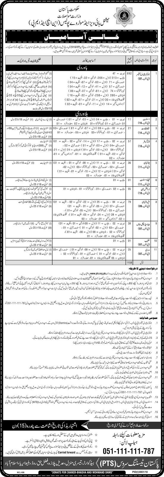 Jobs in National Highways and Motorway Police Jan 2019