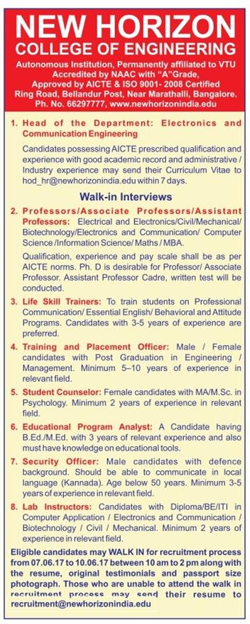new horizon college of engineering bangalore wanted