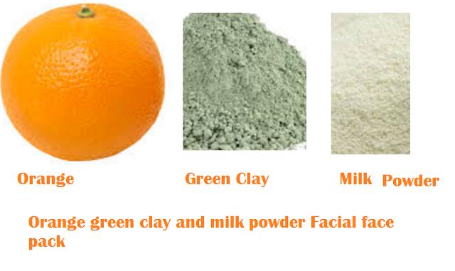 Orange green clay and milk powder Facial face pack