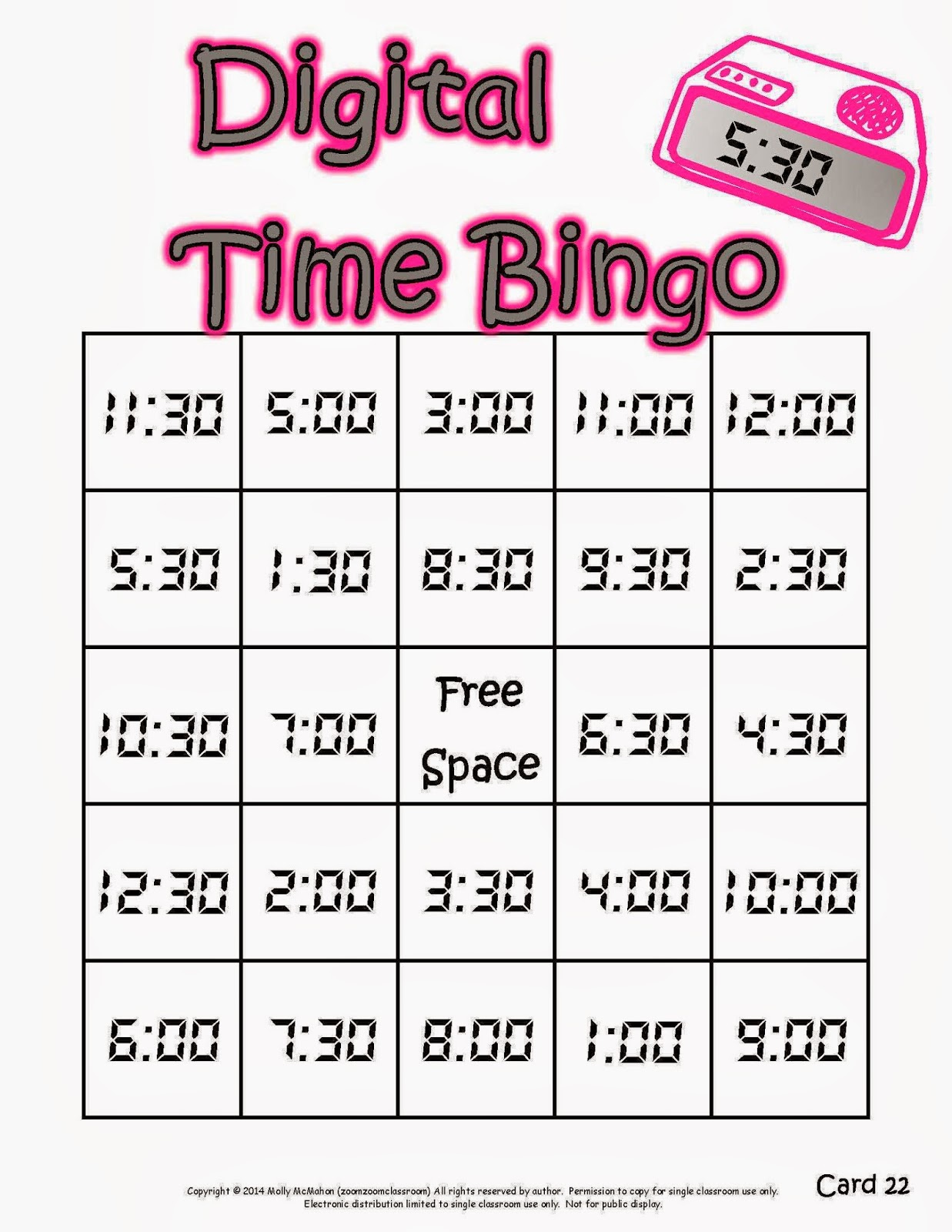 Worksheet Telling Time Bingo