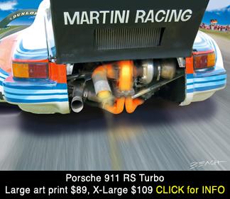 Porsche 911 RS Turbo Lemans art print, reproduction for sale, beacham owen, beach