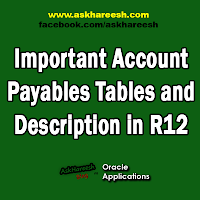 Important Account Payables Tables and Description in R12, www.askhareesh.com