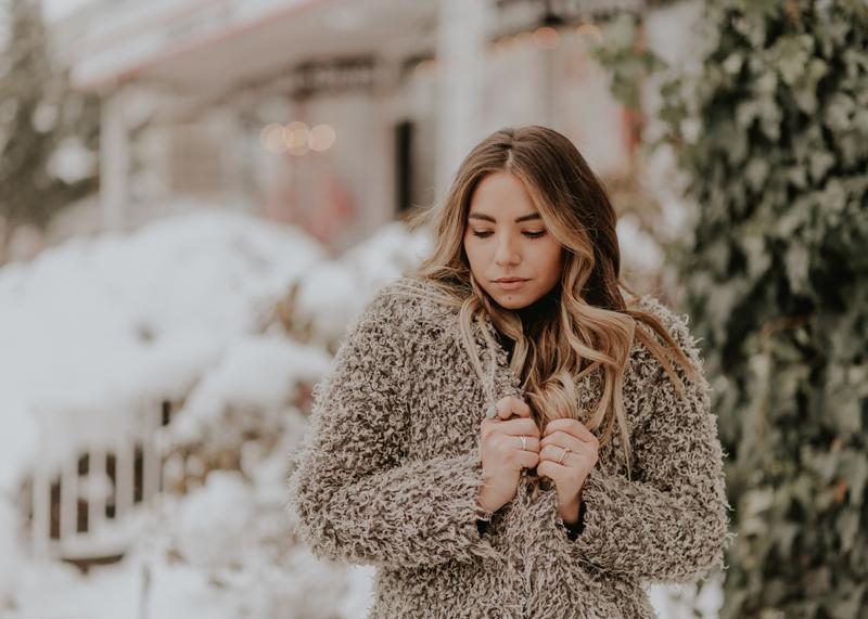 balayage hair, long brunette hair, winter coat