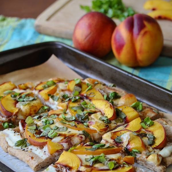Nectarine and Prosciutto Pizza with Basil and Honey Balsamic Reduction