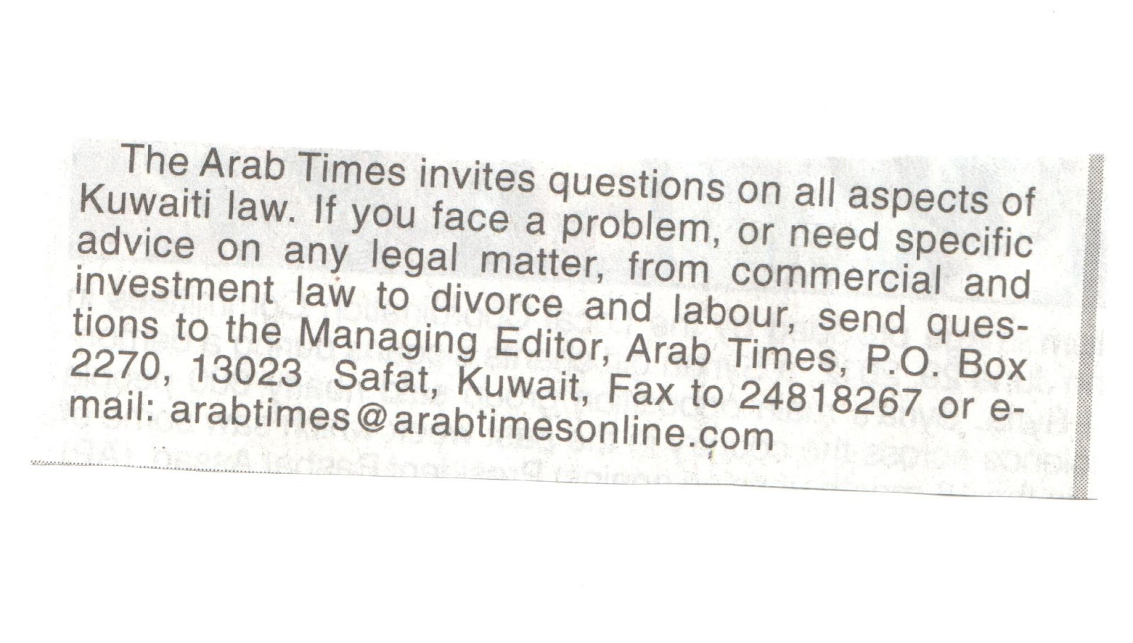ae7c4a07bc0 The Legal Section of the Arab Times had grown to about an entire page now.  Write to them if you have questions. Posted by Desert Girl ...