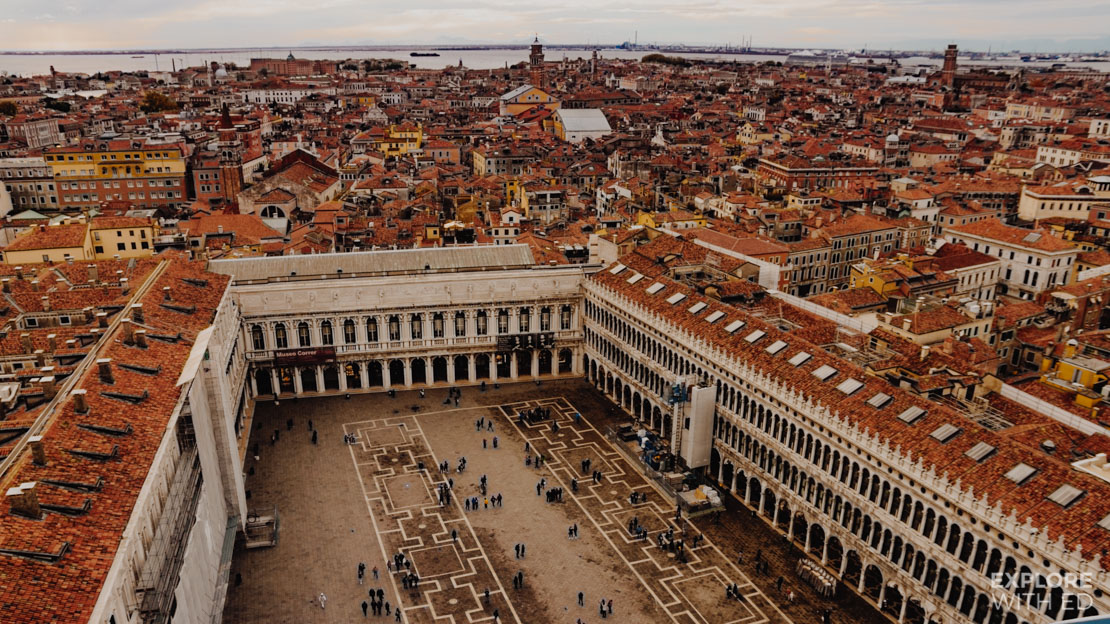 This is what the view looks like from the top of St Mark's Square bell tower