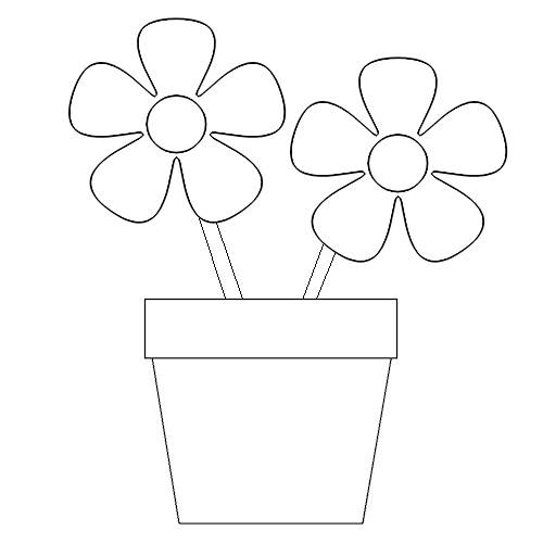 Flower Pot Coloring Page high resolution widescreen (500 x