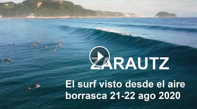 ZARAUTZ el surf visto desde el aire borrasca Ellen 21-22 agosto 2020