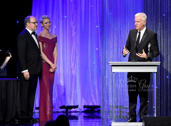 Oscar-winning James Cameron. Charlene wore Ralph Lauren Sequined Dress at 2017 Prince Rainier awards