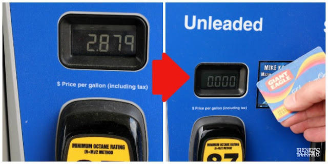 Photo collage showing savings at gas pump after using Giant Eagle Fuelperks+