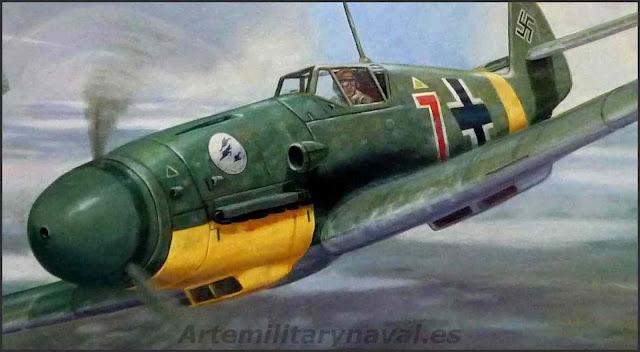 Oleo Bf109 escuadrilla azul frente oriental Segunda Guerra Mundial