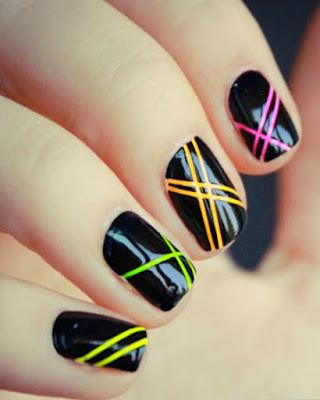 nail decoration with colored lines