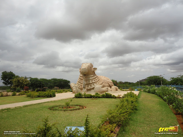 15 feet high monolithic Nandi at Lepakshi at Lepakshi, in Andhra Pradesh, India