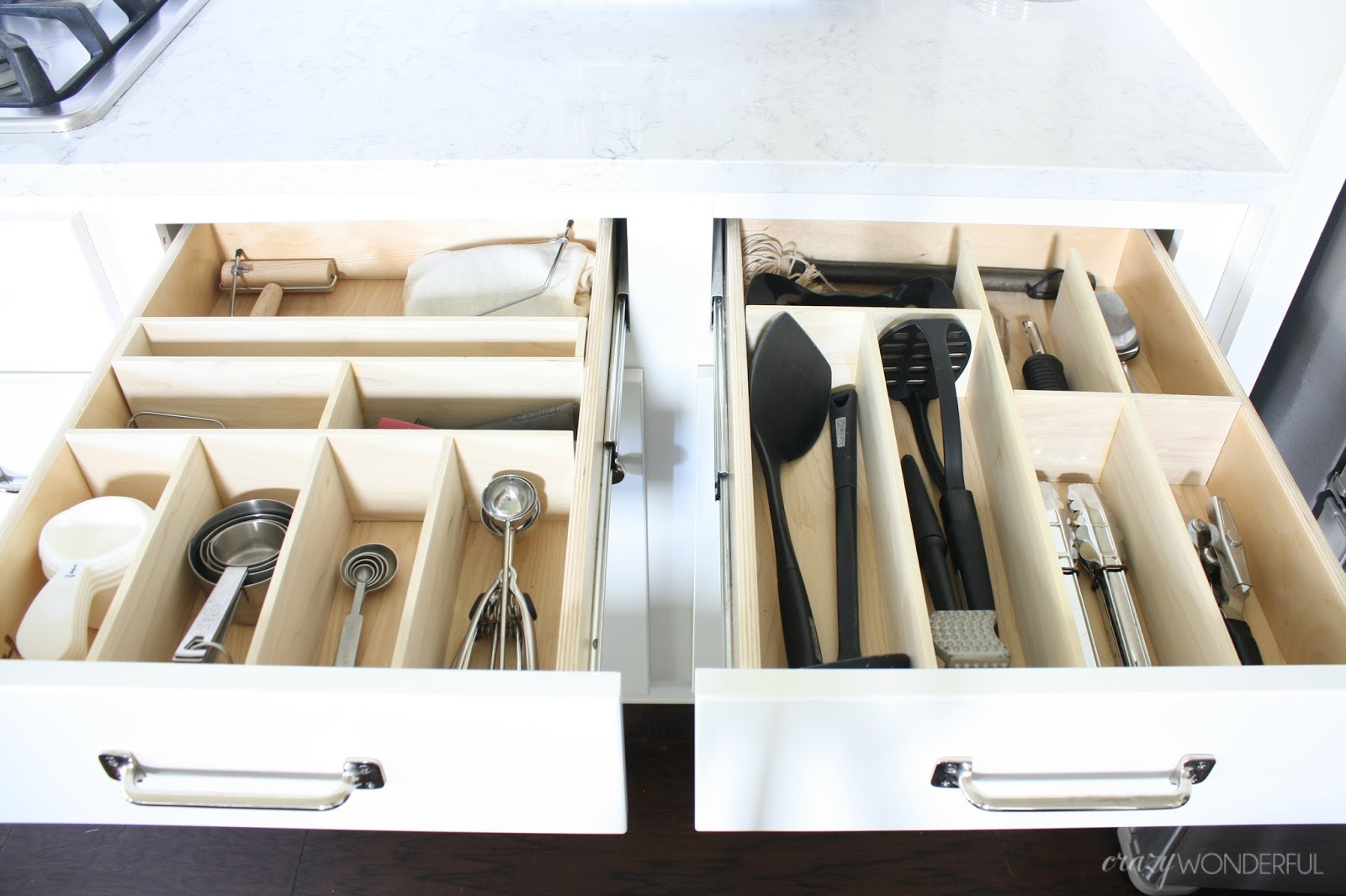 DIY custom kitchen drawer organizers - Crazy Wonderful