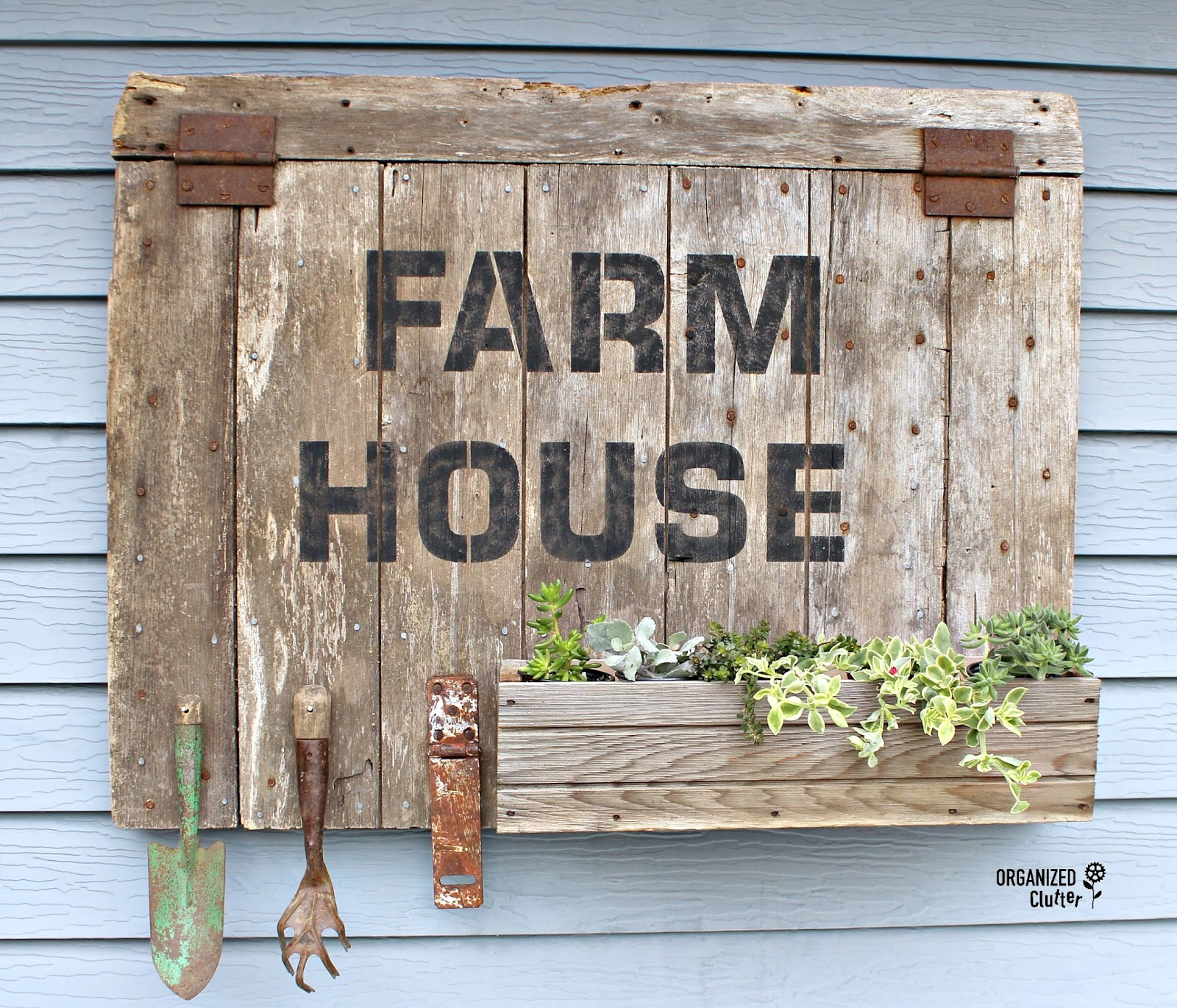 Outdoor Quot Farmhouse Quot Barn Door Sign Planter Box With Old