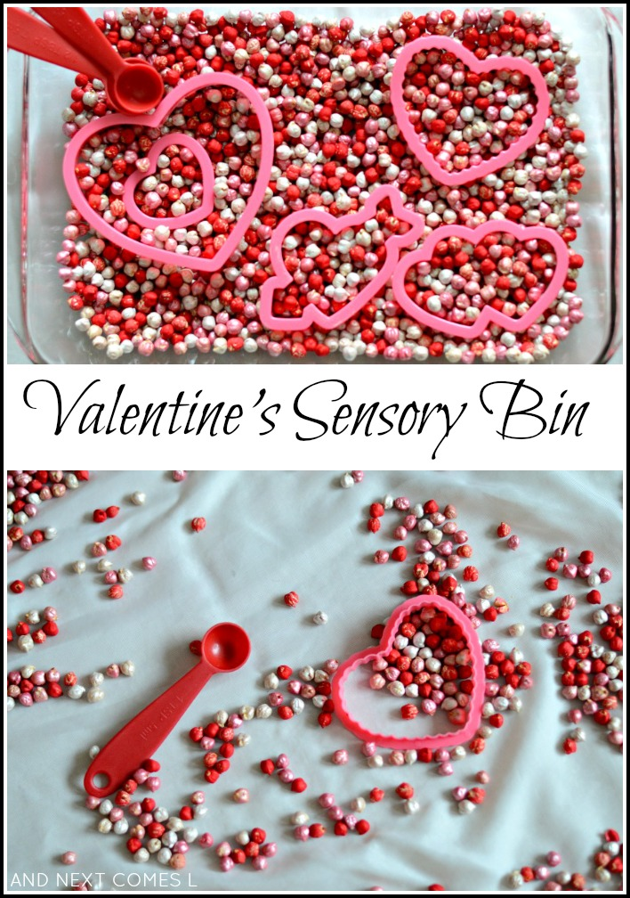 Simple sensory play for Valentine's Day using dyed chickpeas from And Next Comes L