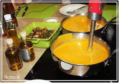 crème de potiron cèpes et anguilles