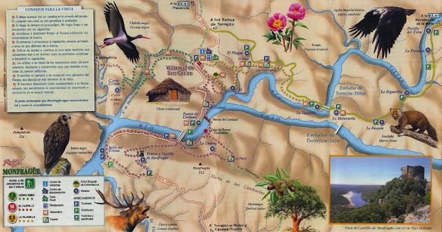 Plano del Parque Nacional de Monfragüe