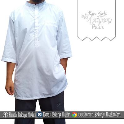 Baju Muslim Pria Koko Kurta Katun Putih