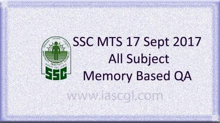 17 Sept 2017, SSC MTS Memory Based Question All Shifts