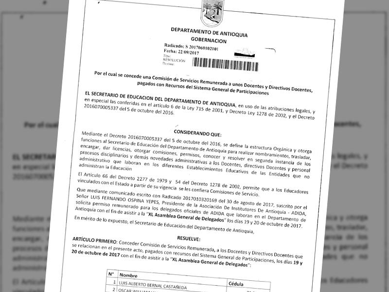 Autorizado - Permiso para los delegados departamento de Antioquia