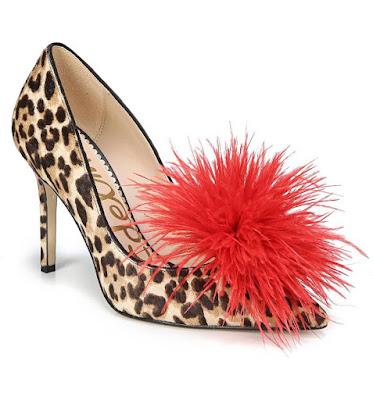 DIY designer shoe look for less, leopard heels, feather shoe clip, haide feather pom pom pump, sam edelman leopard heels