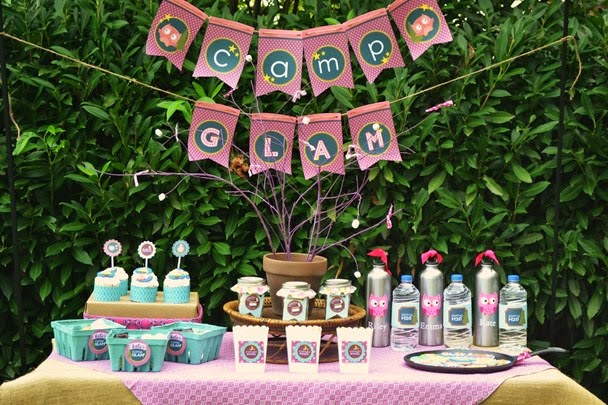 We Heart Parties Has This Beautiful Party Food Setup With An Owl Theme Dont Let Those Hoots Scare You When Are Sleeping In The Tent