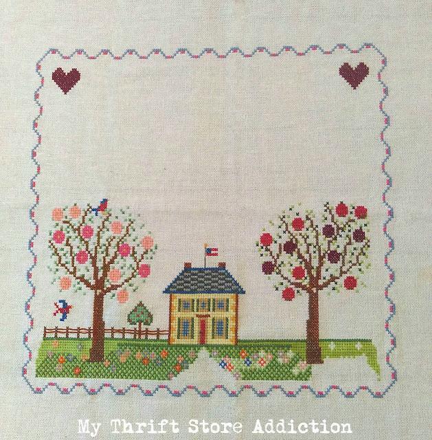 vintage cross-stitch sampler