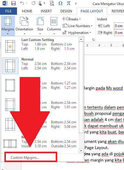 cara mengatur margin di word 2013