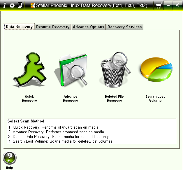 Stellar Phoenix Linux Data Recovery – Home Screen