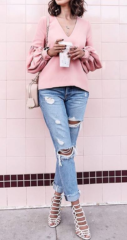 casual style addict: shirt + ripped jeans + heels