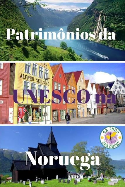 Patrimônios da UNESCO na Noruega - Bryggen (Bergen), fiordes (Geiranger), arte rupestre em Alta, igreja de madeira de Urnes, Røros