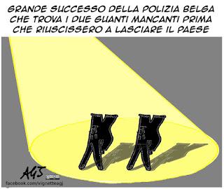 guanti, belgio, indagini, terrorismo, vignetta, satira