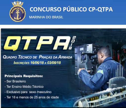 Marinha do Brasil abre Concurso Público do QTPA 2018