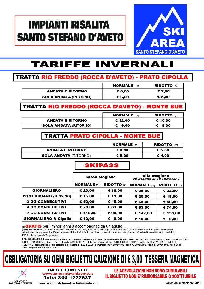 Calendario Cipolle 2019.Skiarea Santo Stefano D Aveto Calendario Tariffe Stagione
