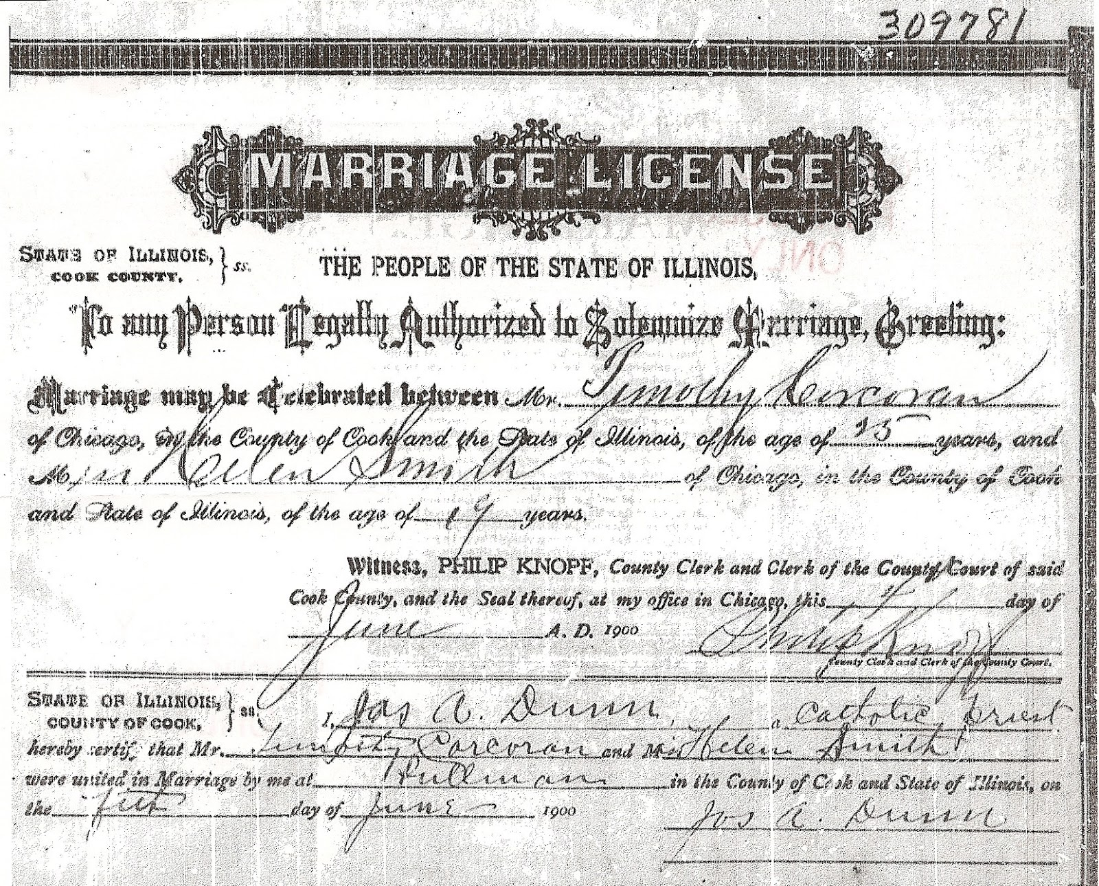 marriage smith license timothy francis illinois county cook corcoran chicago helen 1900 june