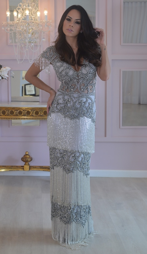 vestido de festa cinza prata