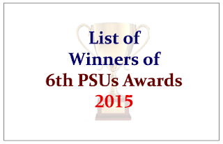 Winners of 6th Public Sector Undertakings (PSUs) Awards 2015