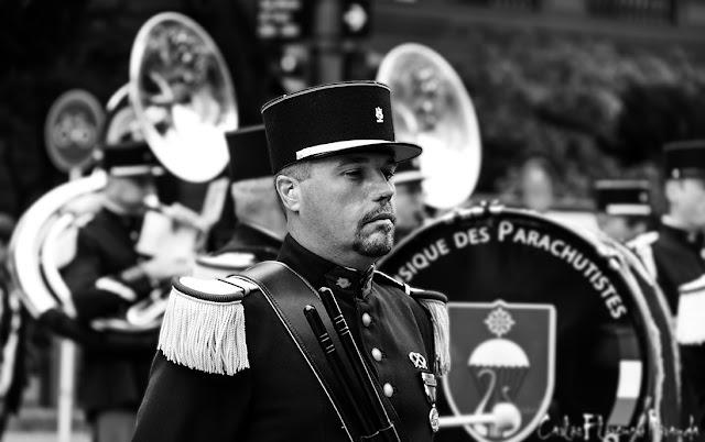 Retrato en Blanco y Negro Músico Banda ejercito francés.