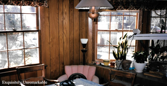 Family Room  with paneling and vintage decor