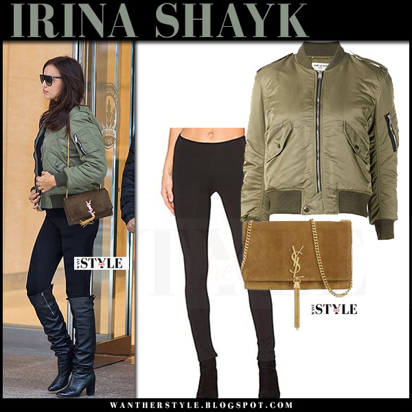 Irina Shayk in green bomber saint laurent jacket, black leggings and black boots what she wore model style