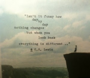 Famous Quotes About Life Changes: i an't it funny  how day by day nothing changes but when you look when you look look