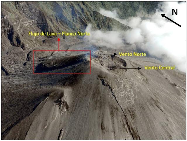 Coulée de lave sur le volcan Reventador, 28 janvier 2016