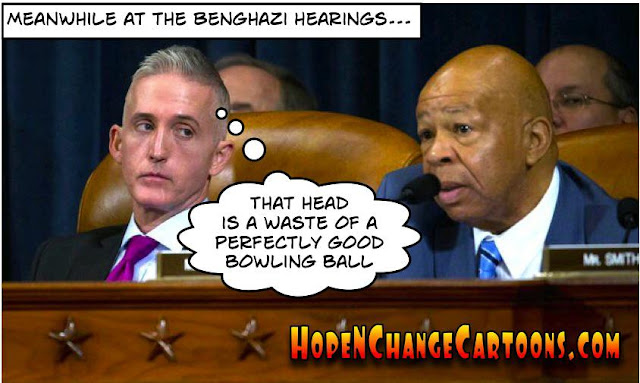 obama, obama jokes, political, humor, cartoon, conservative, hope n' change, hope and change, stilton jarlsberg, hillary, benghazi, hearing, elijah cummings