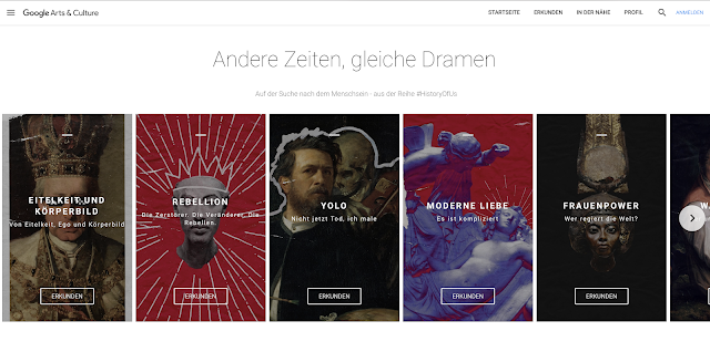 Ein Screenshot der Google Arts & Culture Webseite