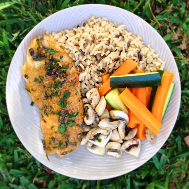 Maple Dijon Chicken with Steamed Rice and Vegetables