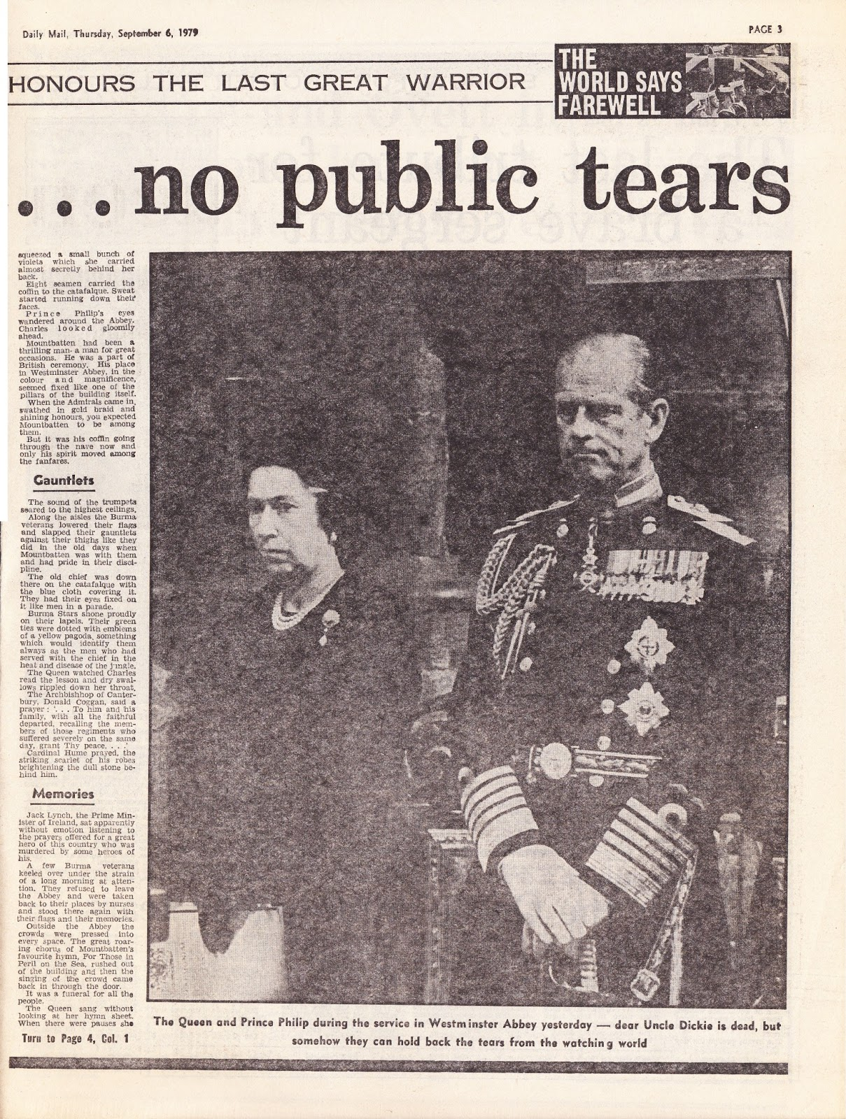 Hold The Front Page: Lord Mountbatten's Funeral
