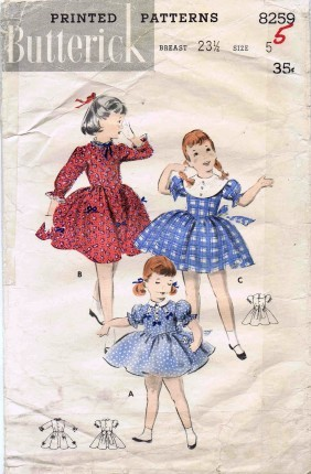 Dress Pattern for Girls featuring 3 girls with different style dresses from the 1950s
